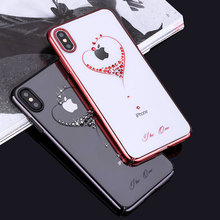 Bling Plating Slim Case For iPhone XS/XS Max 6.5/XR/X Back Hard Cover Crystal Diamond Luxury Brand Clear Thin Shockproof Women