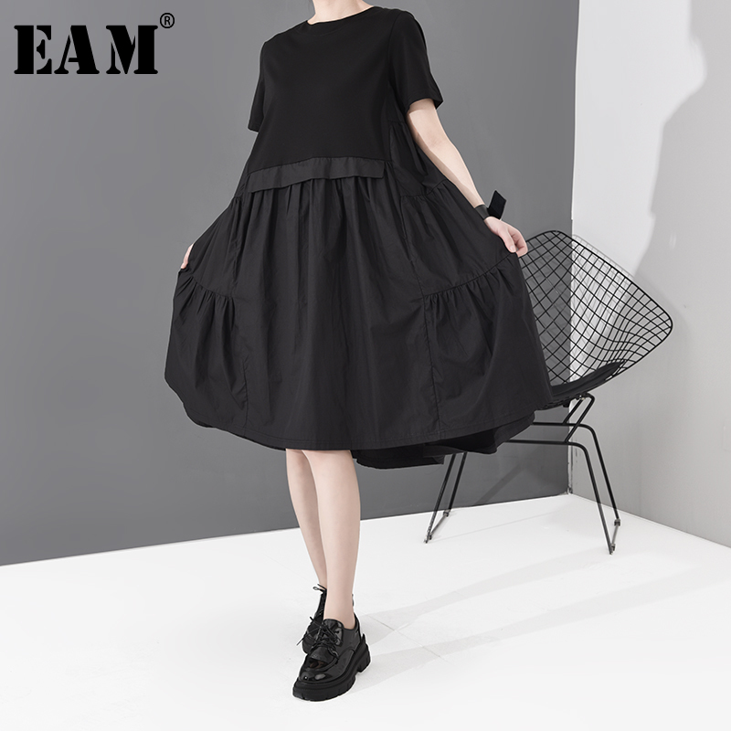 [EAM] Women Black Pleated Split  Joint Temperament Dress New Round Neck Short Sleeve Loose Fit Fashion Spring Summer 2020 1S778