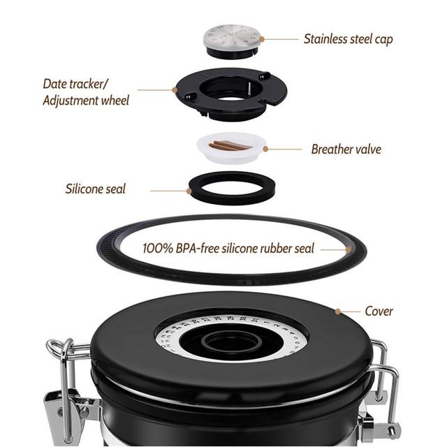Stainless Steel Sealed Tank Storage Tank Moisture-proof Coffee Bean Milk Powder Jar Tea Pot Kitchen Grains Storage Box 2