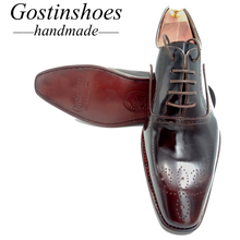 SALE 44 Goodyear Handmade Welted Men Oxfords Brogues Men Dress Shoes Shoes Lace-up Pointed Toe Formal Genuine Leather Brown heinrich hot sale genuine leather handmade formal shoes men vintage carved lace up oxfords top quality flat shoes schuhe herren