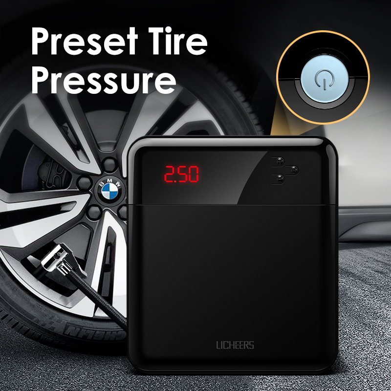Licheers Car Air Compressor Intelligent Auto Tire Fast Inflatable Pump Mini Portable Electric Car Tyre Inflator Compresor title=