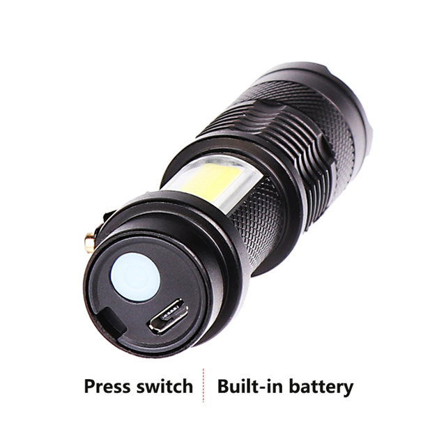 New arrive XP-G Q5 Built in battery Zoom Focus Mini led Flashlight Torch Lamp 2000 Lumens Adjustable Penlight Waterproof light 3