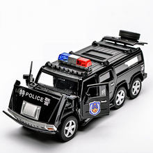 4 style alloy hummer car models real alloy pickup truck police car toy model light music rally car children collection gifts(China)