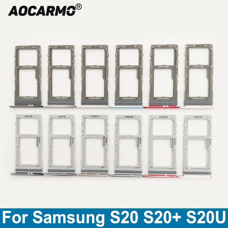 Aocarmo For Samsung Galaxy S20 S20+ S20U Single SIM Dual SIM Metal Plastic Nano Sim Card Tray MicroSD Slot Holder