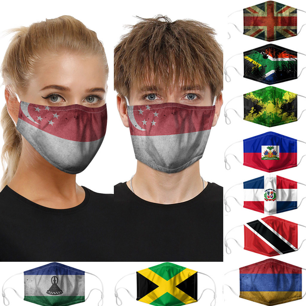 1PC Flag Printing Mask Dustproof Windproof Foggy Haze Anti-spitting Protective Mask For Outdoor Riding Masques Masky
