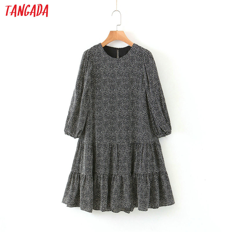 Tangada Fashion Women Dots Print Summer Mini Dress Puff Long Sleeve Korean Lady Vintage Short Dress Vestidos QB108