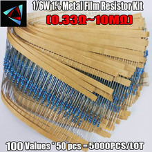 Kit surtido de resistencias de película metálica, 1/6W 1% 1R ~ 10M ohm 100valuesx50 Uds = 5000 Uds.