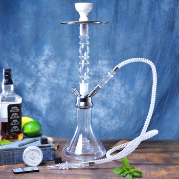 Transparent Acrylic Shisha Hookah Pipe Nargile Chicha Narguile Completo Sisha with LED Light Bowl Hose Metal Tongs Accessories