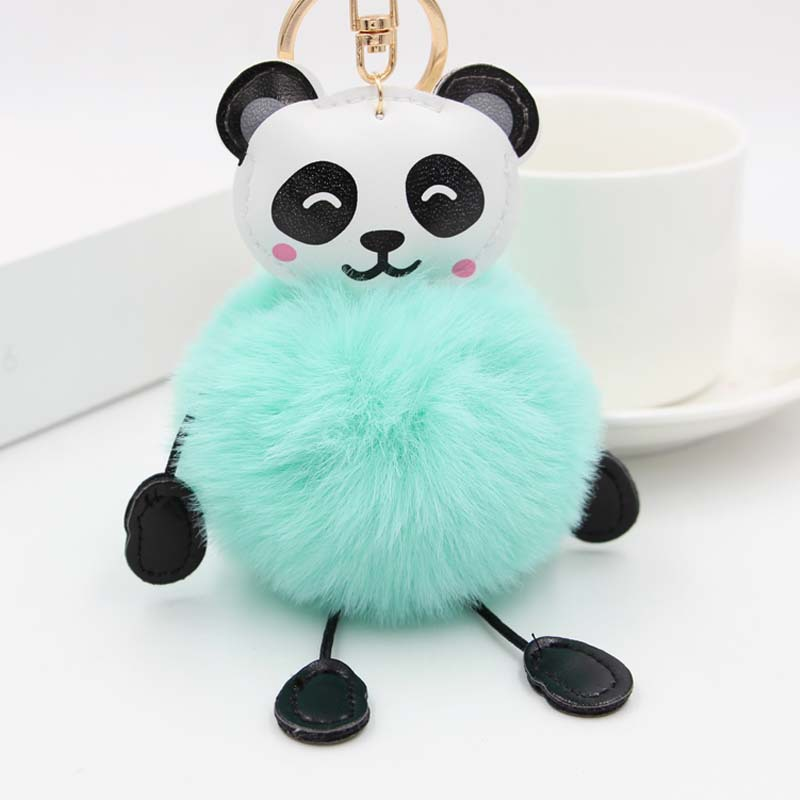 Fashion <font><b>Pom</b></font> <font><b>Pom</b></font> Fluffy Key Chains <font><b>Keyring</b></font> Pendant Porte ClefCute Panda Fake Rabbit Fur Soft Ball Pompom Keychain For Women Bag image