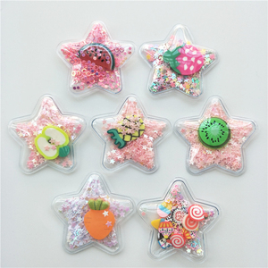 14pcs/lot 5cm Star Transparent Bling bling Star Flowing Patches Appliques for Children clip and DIY Hair Clip Accessories(China)