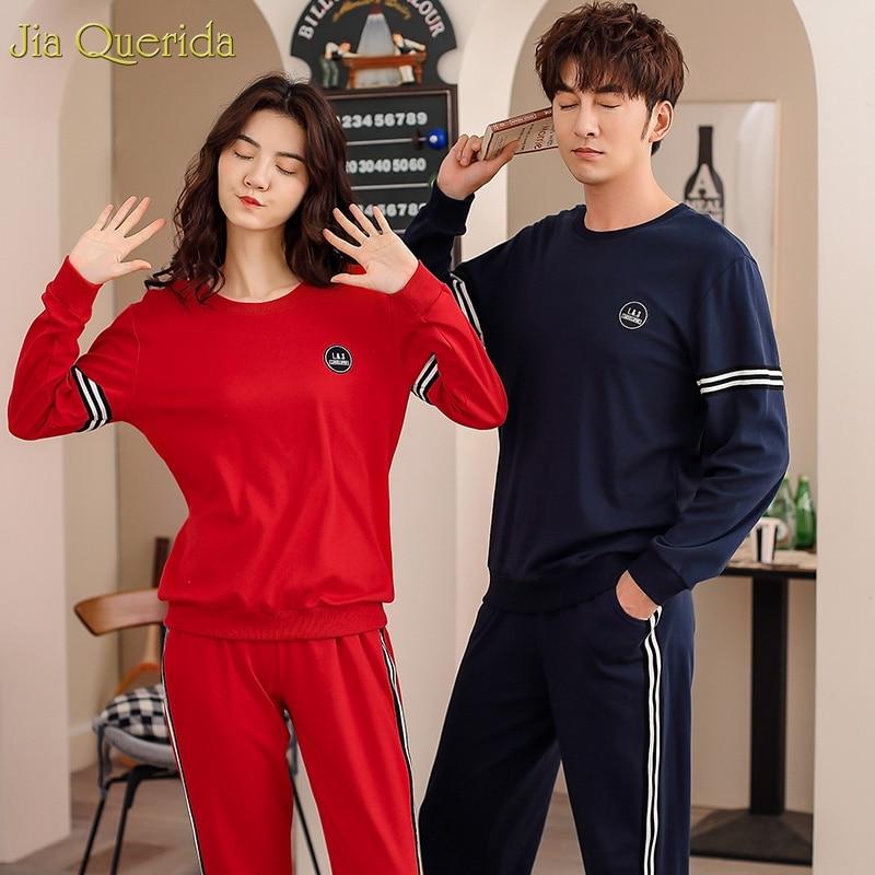 Long Sleeves High Quality 100% Cotton Home Clothing Christmas Red Women Pajamas Royal Blue Christmas Couple New Couple Pajamas