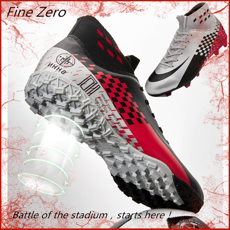 Black Silver Men Football Boots High Ankle Soccer Shoe Women Soft Groud Man Football Shoes Botas De Futbol Socks Cleats Training