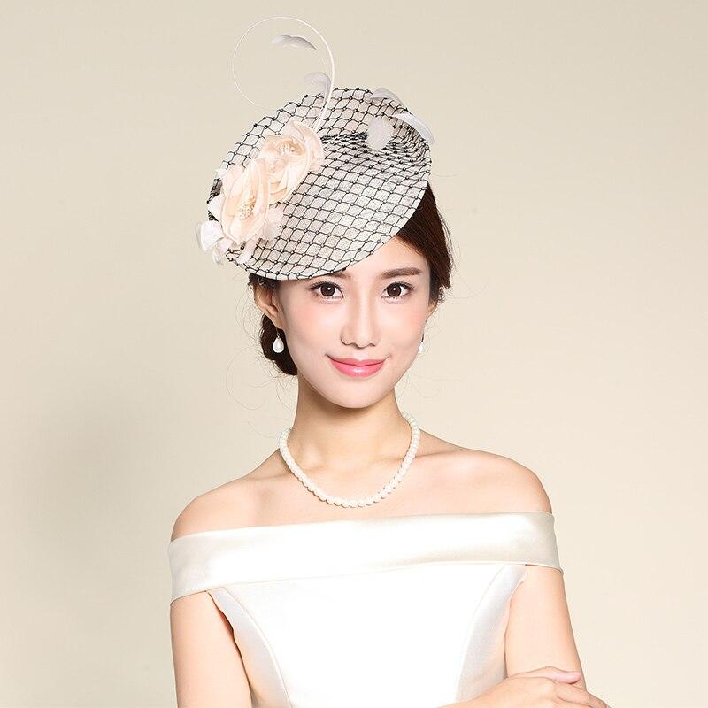 Mingli Tengda femme Cambric chapeau mariée Banquet chapeaux plume dentelle petit chapeau formel nu mariage Fascinators accessoires diadème