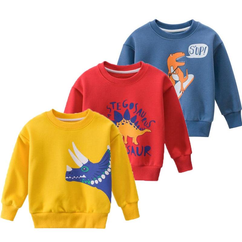 Spring Autumn New Baby Boys Clothes Fashion Children's Long Sleeve Sweatshirts Cartoon Dinosaur Pullover Velvet Tops For 2-8t