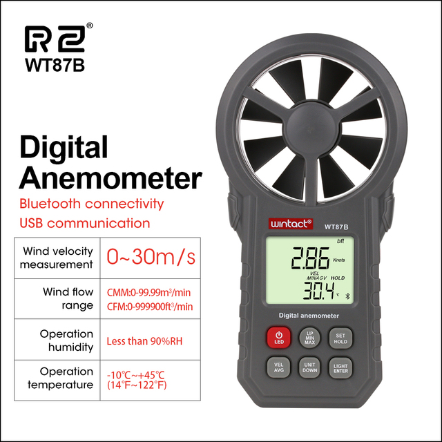RZ Digital Anemometer Thermometer Humidity Meter Portable Wind Speed Meter With USB Bluetooth Anemometro Handheld Wind Meter