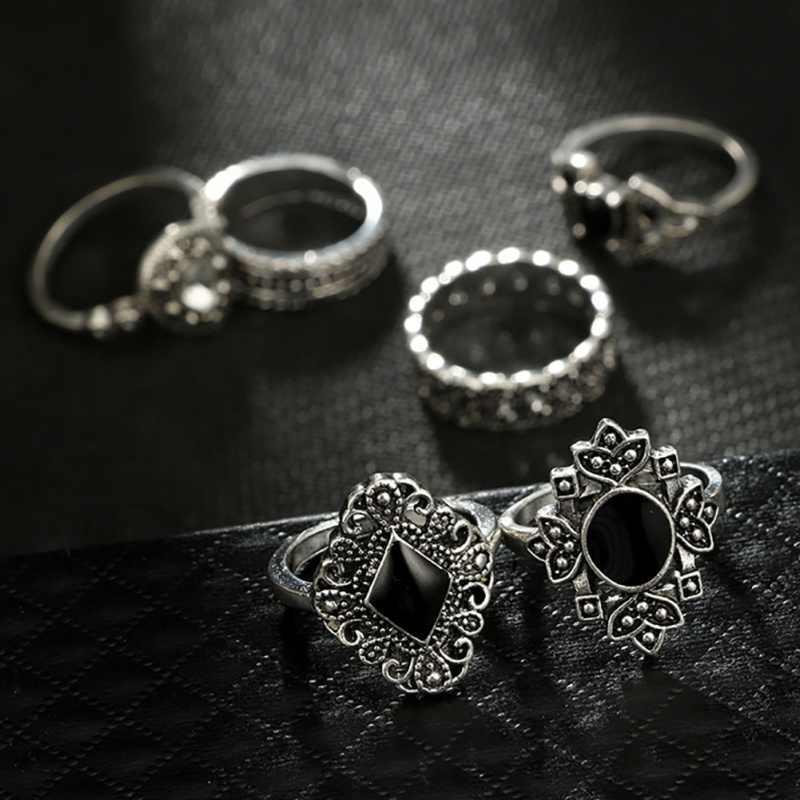 15 unid/set señora Retro Boho estilo hueco girasol geometría negro gema anillo plata gótico anillo corona de cristal señoras