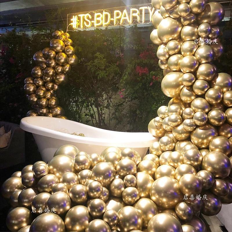 100pcs 50pcs 10inch Pearl Chrome Metal Balloon Golden Balloon Arch Wedding Supplies Party Decor Globos(China)