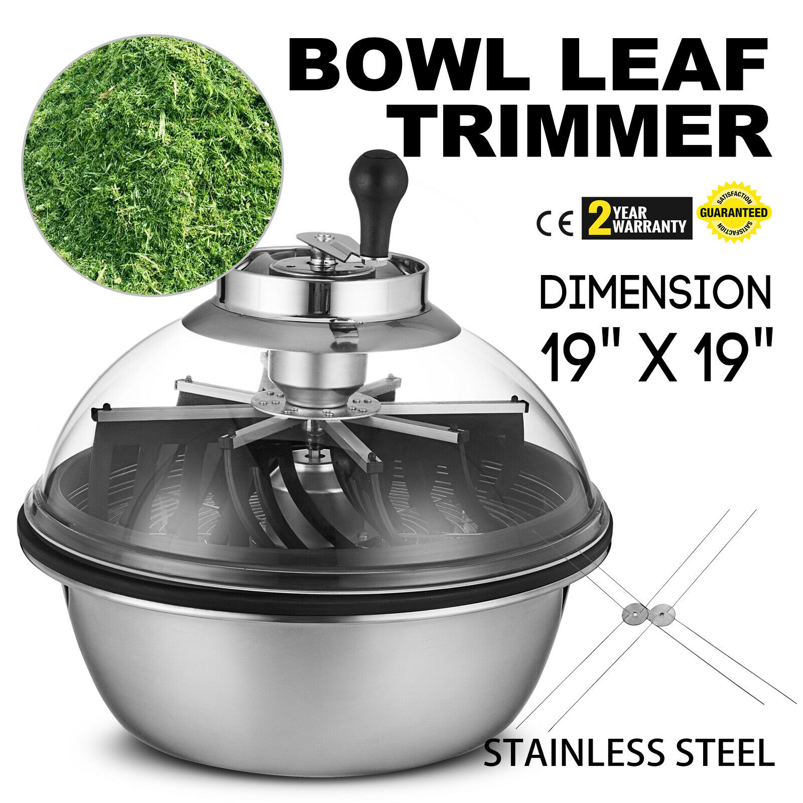 19 Inch Manual Plant Bud Leaf Bowl Trimmer Visible Wire Blades Food Grade Spin