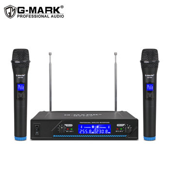 G-MARK G210V Wireless microphone professional 2 channel karaoke mic for party singing church show home xtuga professional 8 channel uhf wireless microphone system 8 handheld mics independent channel volume control for stage party