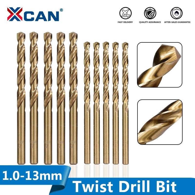 XCAN 1.0-13mm HSS M35 Cobalt Coated Twist Drill Bit Wood/Metal Hole Cutter Round Shank Gun Drill Bit
