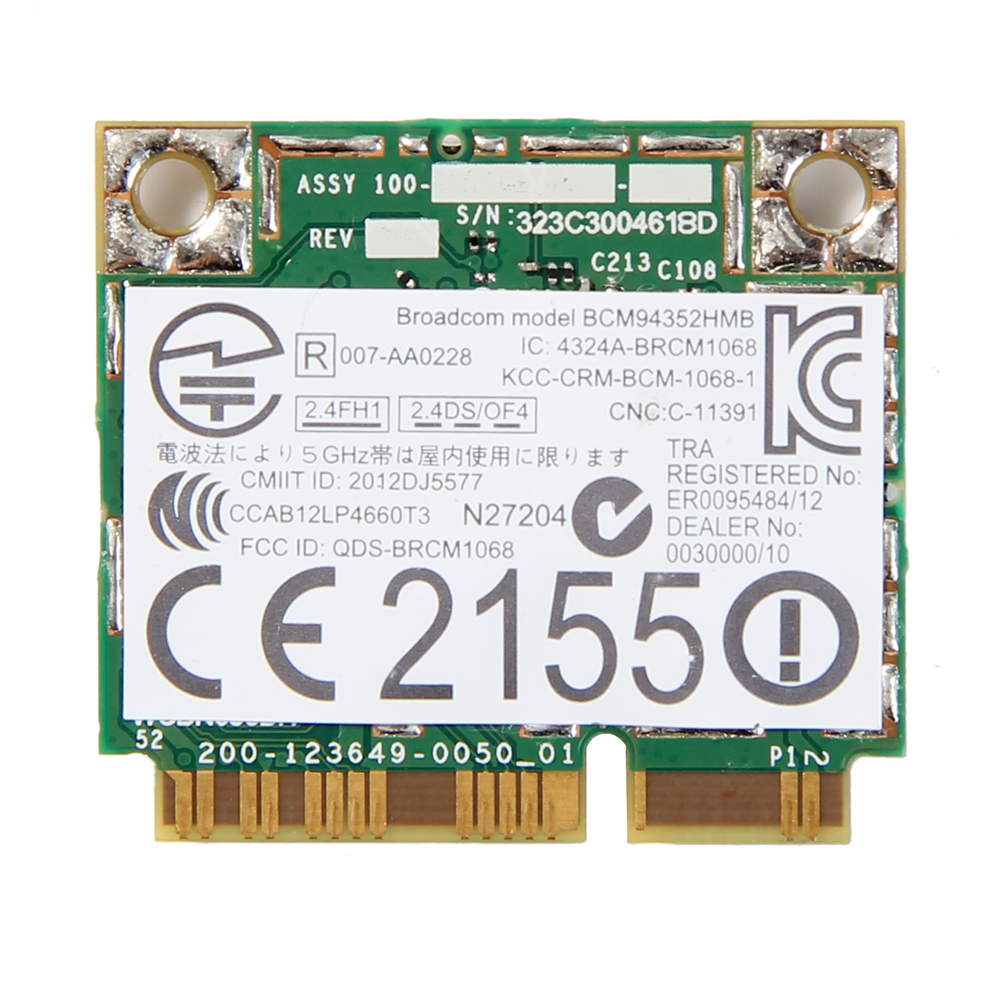 Dual Band Wireless-AC For Broadcom BCM94352HMB 867Mbps WLAN + Bluetooth BT 4.0 Half Mini PCI-E Wifi Wlan 802.11ac Card DW 1550