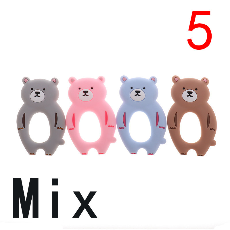 ATOB 5pcs Baby Teether Dinosaur Silicone Pendant Teethers Bear BPA Free Teething Toy Animal DIY Chain Necklace Toys Accessories