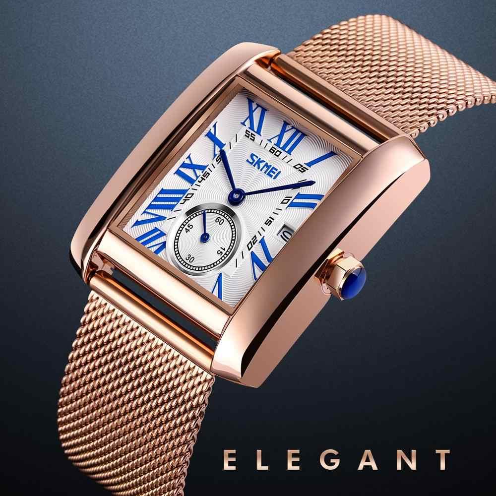 Lüks Quartz saat erkek saati marka SKMEI gül altın paslanmaz çelik erkek kol saati tarih ekran kuvars bilezik iş saati