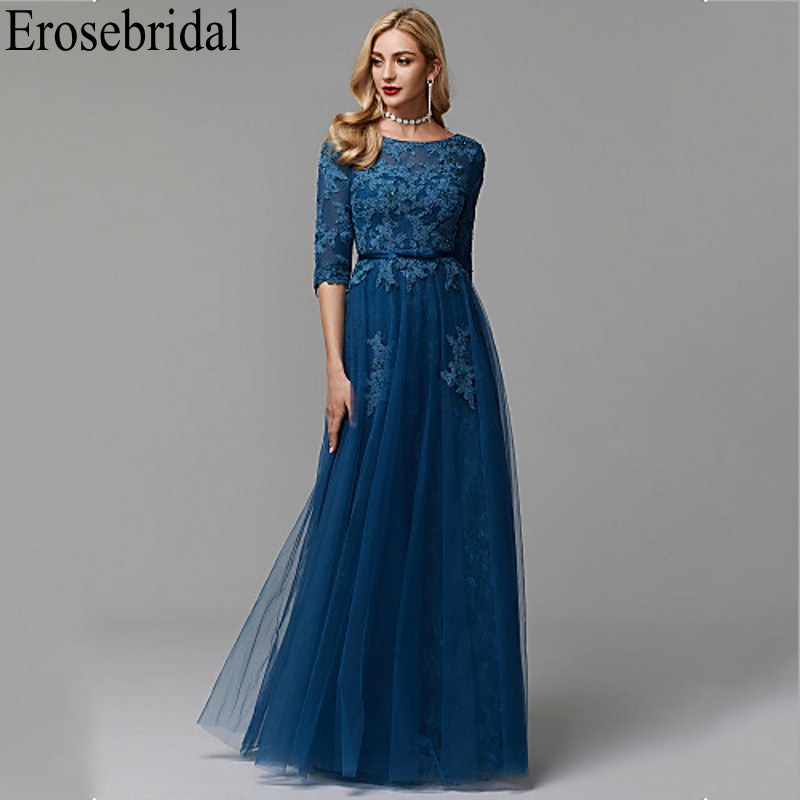 Erosebridal Half Sleeve Long Formal Dress Evening Gown With Lace Up Back Lace Long Evening Dress 2019 Occasion Dresses For Women