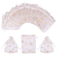 100pcs Organza Bags Wedding Christmas Snowflake Candy Gifts Packaging Drawstring