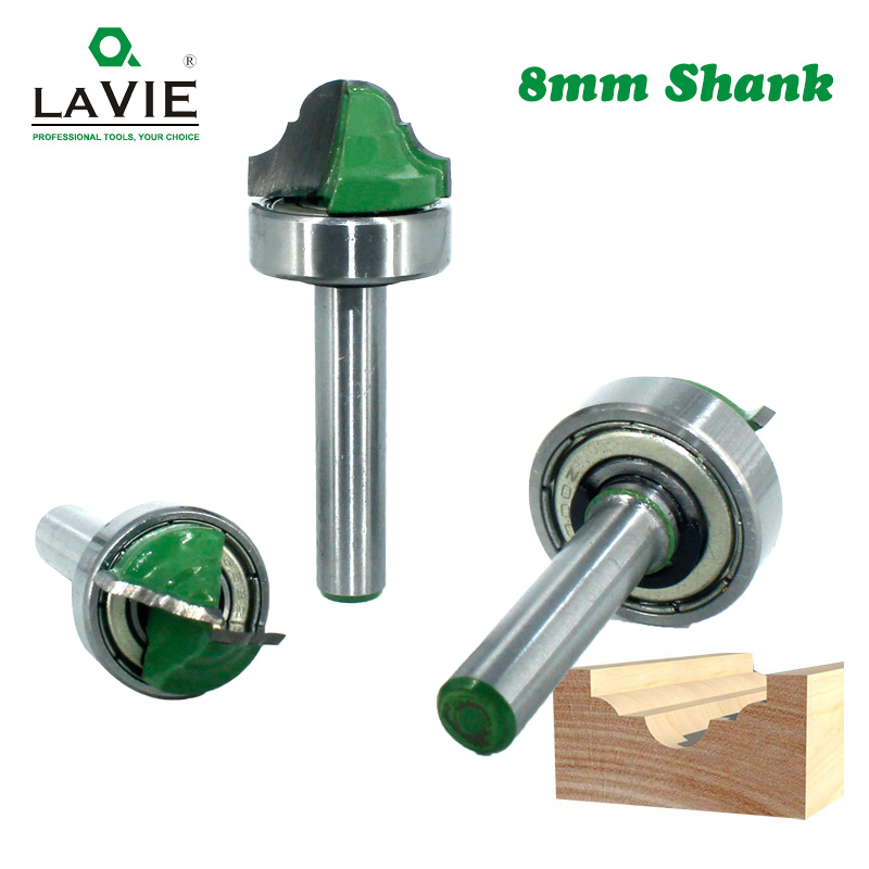 LAVIE 1pc 8mm Shank Bearing Shank Double Roman Ogee Edging Router Bit Milling Cutter For Wood Wood Line Knife Hobbing MC02100