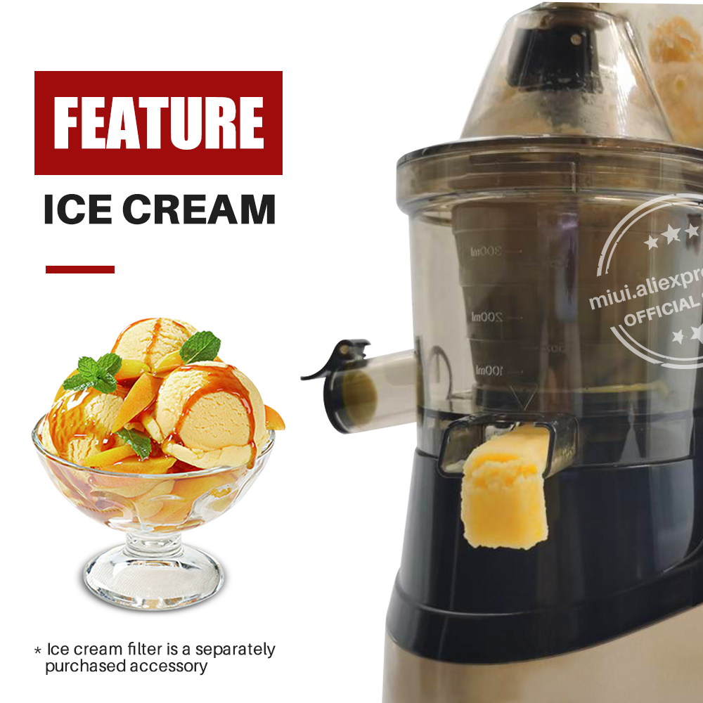 MIUI медленная соковыжималка 7Lv для холодного пресса, экстрактор без фильтра, запатентованная Легкая очистка, большой диаметр, тихий BPA бесплатно 2020, многоцветный PRO