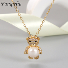 Fanqieliu Gold Color Lovely Bear Natural Pearl Jewelry Crystal Real 925 Sterling Silver Pendant Necklace For Women FQL21194