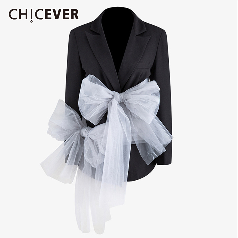 CHICEVER Patchwork Mesh Bow Women Blazer Notched Long Sleeve Tunic Hit Color Suit Female Ruched Fashion Clothing 2020 Spring New