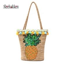 купить Summer Straw Beach Bags Women Vacation Sequin Rattan Crossbody Shoulder Bag Woven Bucket Handbag bolsa feminina purse по цене 1108.11 рублей