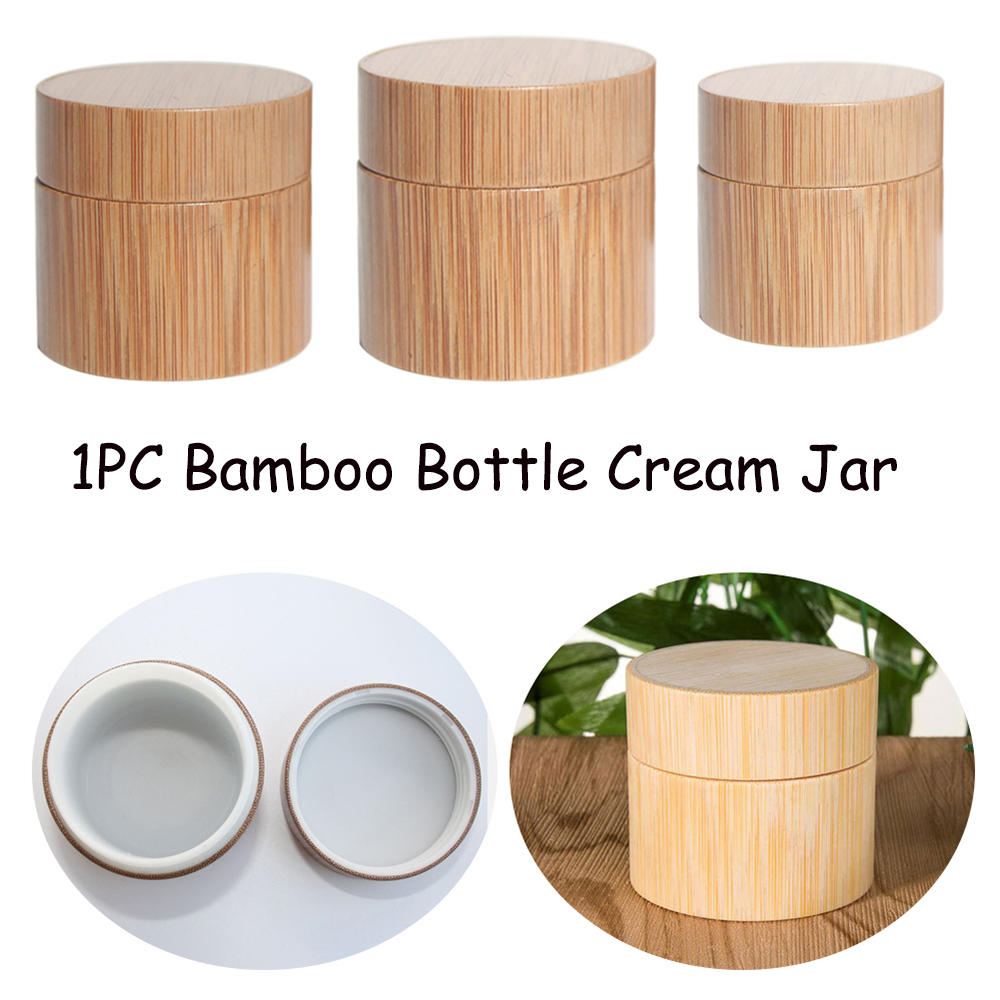 Natural Wooden Shatter-Resistant Makeup Storage Empty Box Bamboo Travel Bottle Cosmetic Jar Cream Container Sub Bottle