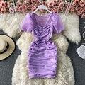 Фиолетовый/коричневый/белый пикантные сетчатые Драпированное Платье облегающее женское платье Элегантный квадратный вырез круглой голов...