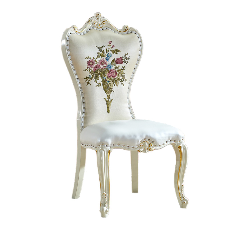 Dining Chair Jane European Solid Wood Chair Fabric Soft Bag Mahjong Restaurant Home White Hotel Nail Chair Backrest Chair