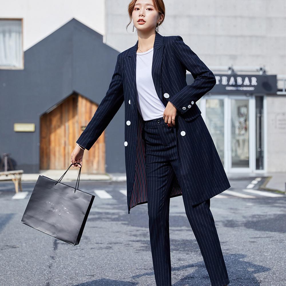 Formel femmes Blazer pantalon costume pour bureau dame longue rayure Blazer costume ensembles noir bleu veste et pantalon 2 pièces ensembles - 2