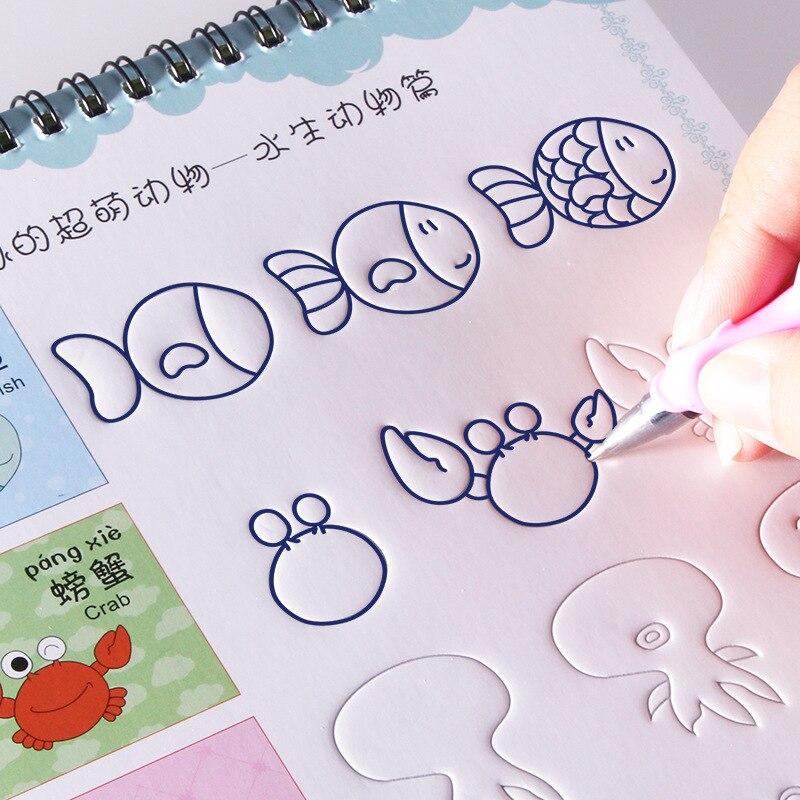 Reutilizável básico pintura copybook mão escrita groove formação notebook auto desaparece brinquedos educativos para crianças jogos