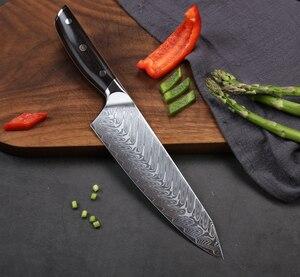 Image 3 - TURWHO 8.2 inç şef bıçağı japon şam çelik mutfak bıçağı Pro paslanmaz çelik Gyuto dilimleme et bıçak abanoz kolu
