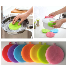 Silicone Bowl Cleaning Brush Multifunction Scouring Pad Wash Fruit/Vegetable Brushes Antibacterial Washing Tool D40
