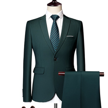 جاكيت + بنطلون رجالي جديد مناسب للعمل أطقم ملابس مكتب للزفاف مكونة من قطعتين بدل وبنطلون وصدرية