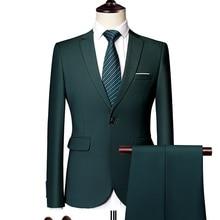 Jacket + Pant New Men Business Slim Suits Sets Solid Color Wedding Office Dress Two piece Suit Blazers Coat Trousers Waistcoat