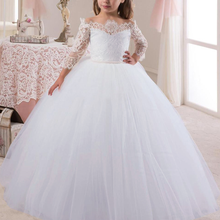 Lace Tulle Ball Gown Princess Dress Elegant Wedding Bridesmaid Dresses for Kids White Prom Dress Girl Birthday Photography Props цена в Москве и Питере