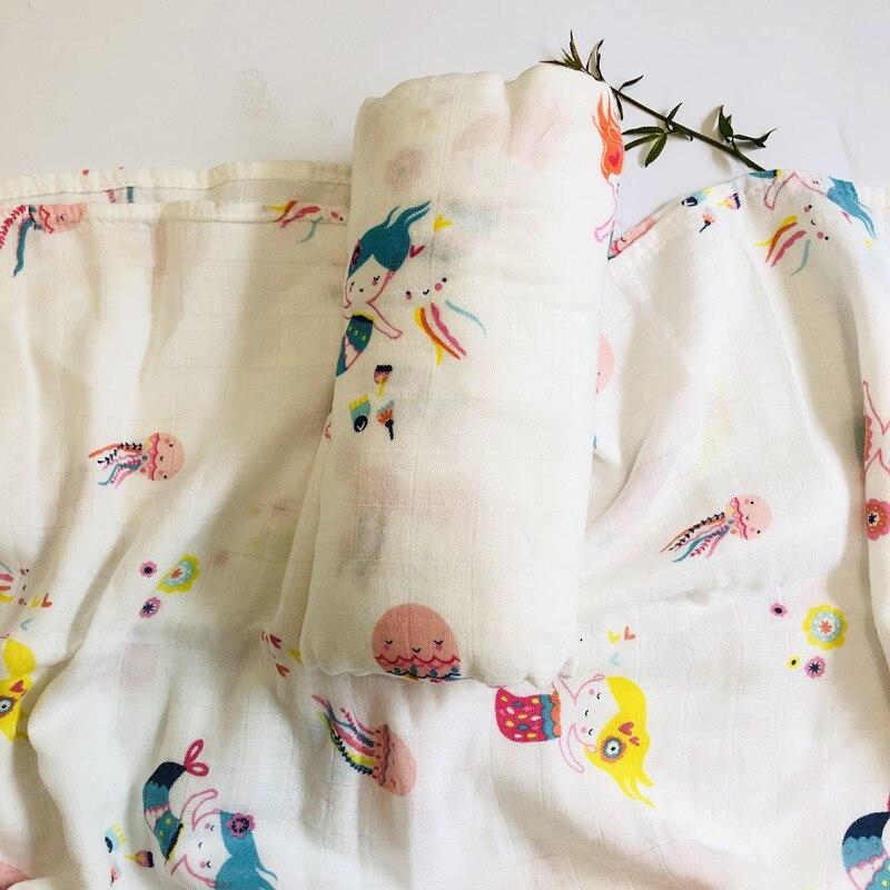 70% бамбуковое детское муслиновое одеяло для пеленания, качество лучше, чем Aden Anais, детское Многофункциональное большое одеяло для пеленок, детское одеяло - Цвет: zm pink mermaid