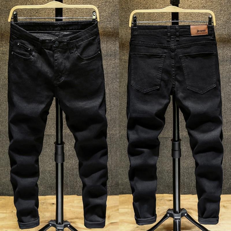 Black Jeans Men's Elasticity Slim Fit Pants Trousers Korean-style Trend Students Four Seasons Versatile Youth Pants