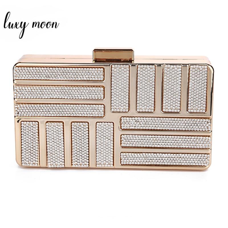 Luxy Moon Silver Crystal Clutch Bags For Women Mini Handbag Wedding Clutch Purse Party Shoulder Bag Gold Color Pochette Femme