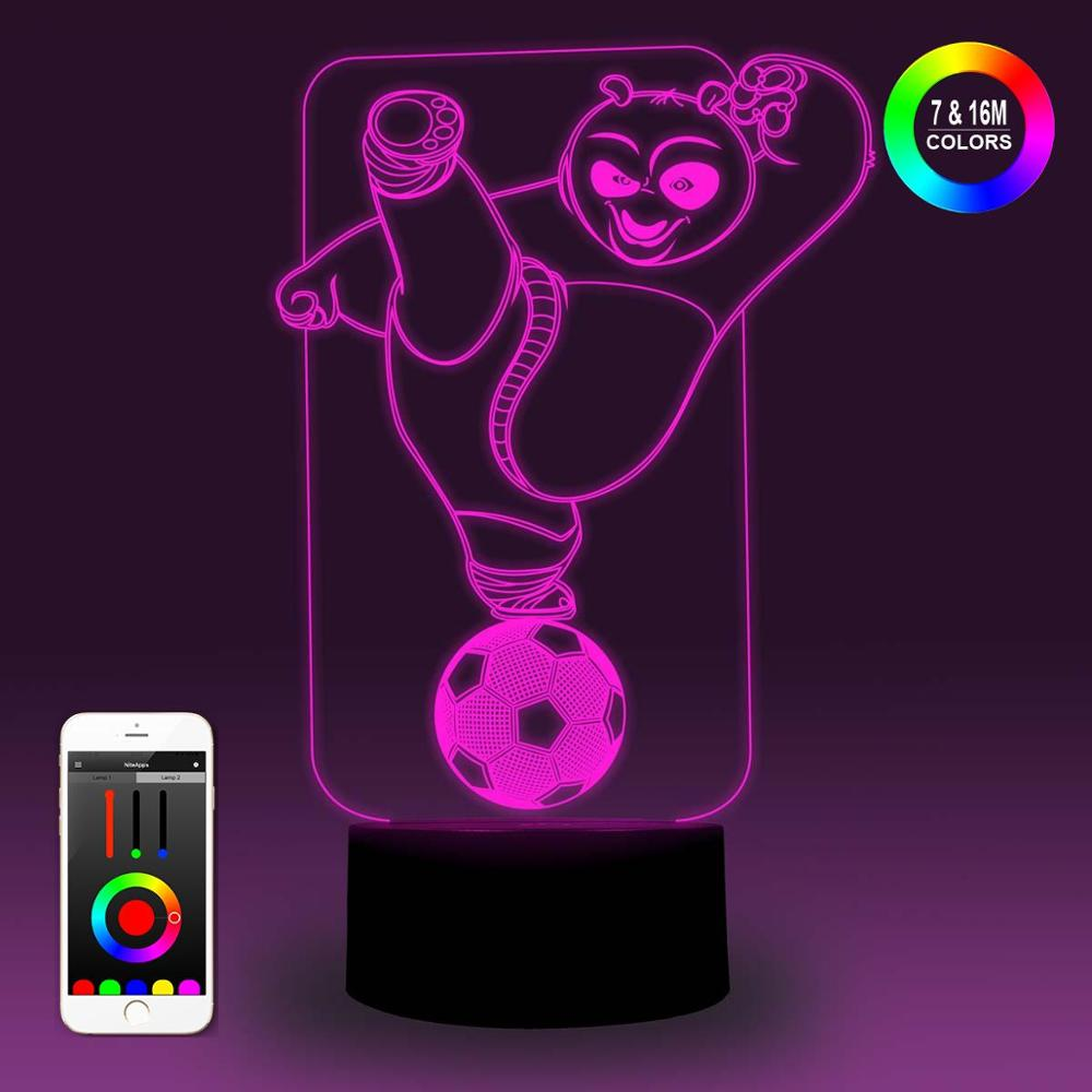 NiteApps 3D Kong Fu Panda Playing Soccer Night Light Desk Table Illusion Lamp Holiday Birthday Gift APP/Touch Control