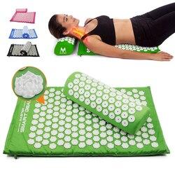 Yoga Lotus espiga acupresión estera almohada conjunto espalda cuerpo masaje a través de acupuntura estera cojín aliviar el dolor de tensión con bolsa de transporte