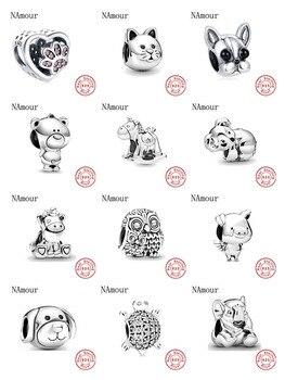 New theo bear pig animal kingdom cat dog unicorn Bead fit original Pandora charms silver 925 Bracelet for women fashion jewelry 1